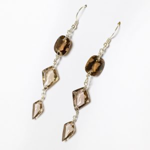 Fashionable Dangle & Drop Earrings featuring varying shades of Smoky Topaz